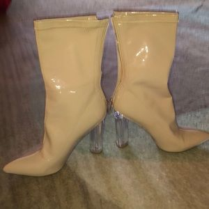 Patten leather boots